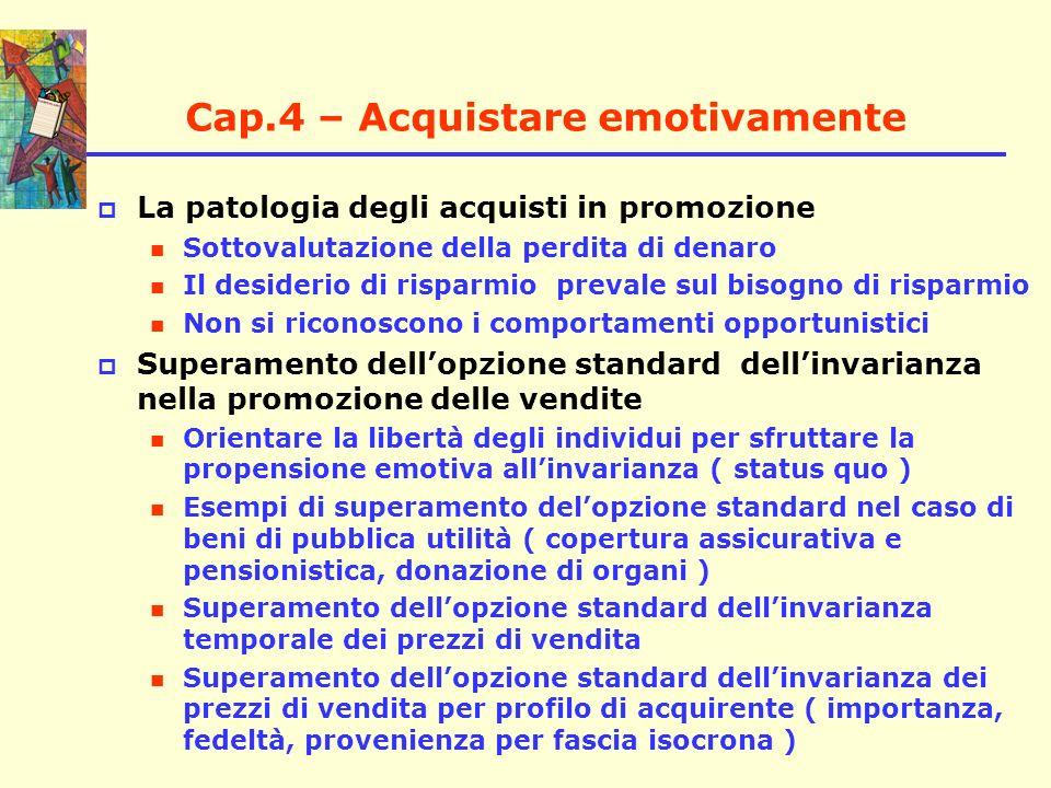 Cap.4 – Acquistare emotivamente La patologia degli acquisti in promozione Sottovalutazione della perdita di denaro Il desiderio di risparmio prevale s