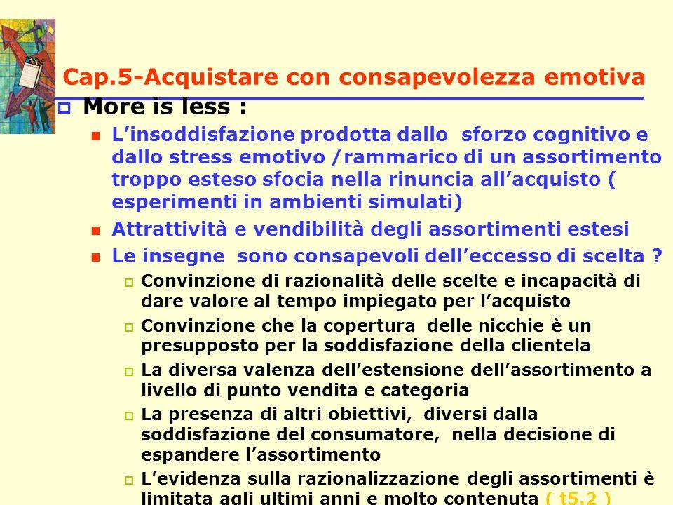 Cap.5-Acquistare con consapevolezza emotiva More is less : Linsoddisfazione prodotta dallo sforzo cognitivo e dallo stress emotivo /rammarico di un as