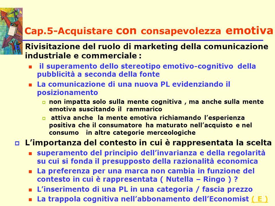 Cap.5-Acquistare con consapevolezza emotiva Rivisitazione del ruolo di marketing della comunicazione industriale e commerciale : il superamento dello