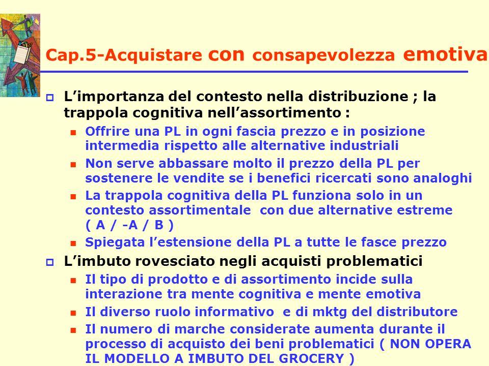 Cap.5-Acquistare con consapevolezza emotiva Limportanza del contesto nella distribuzione ; la trappola cognitiva nellassortimento : Offrire una PL in