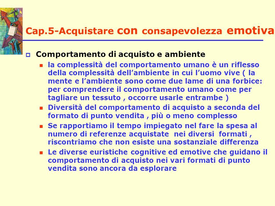 Cap.5-Acquistare con consapevolezza emotiva Comportamento di acquisto e ambiente la complessità del comportamento umano è un riflesso della complessit