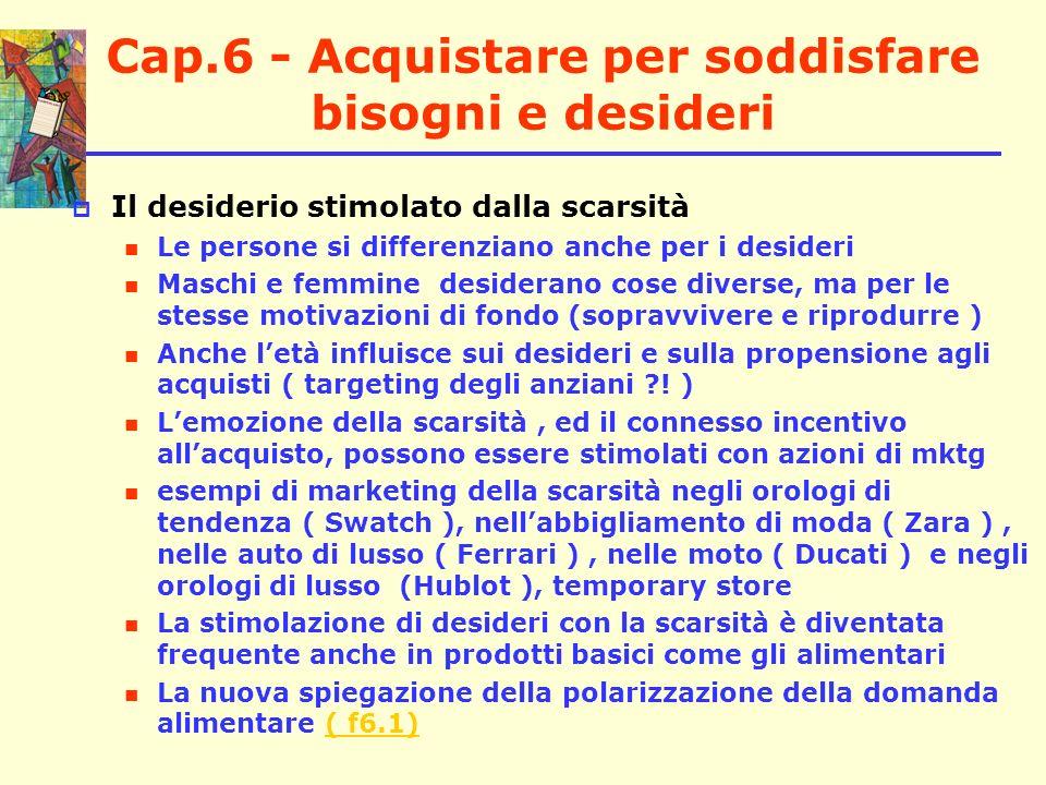 Cap.6 - Acquistare per soddisfare bisogni e desideri Il desiderio stimolato dalla scarsità Le persone si differenziano anche per i desideri Maschi e f
