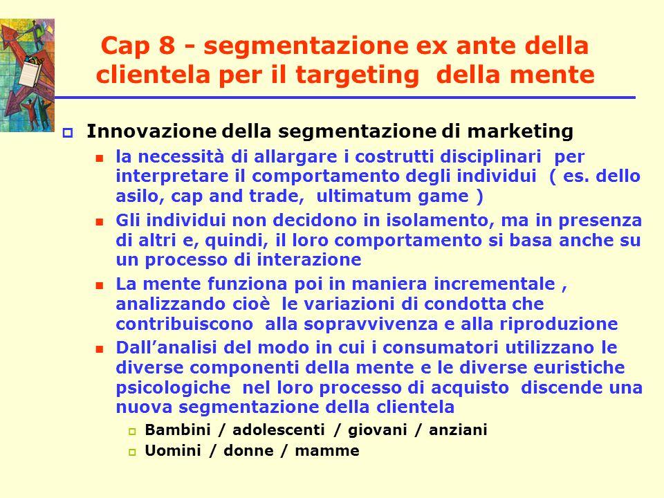 Cap 8 - segmentazione ex ante della clientela per il targeting della mente Innovazione della segmentazione di marketing la necessità di allargare i co