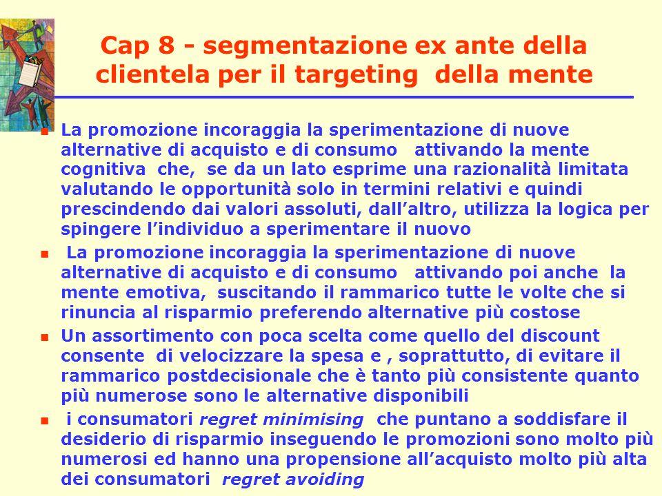 Cap 8 - segmentazione ex ante della clientela per il targeting della mente La promozione incoraggia la sperimentazione di nuove alternative di acquist