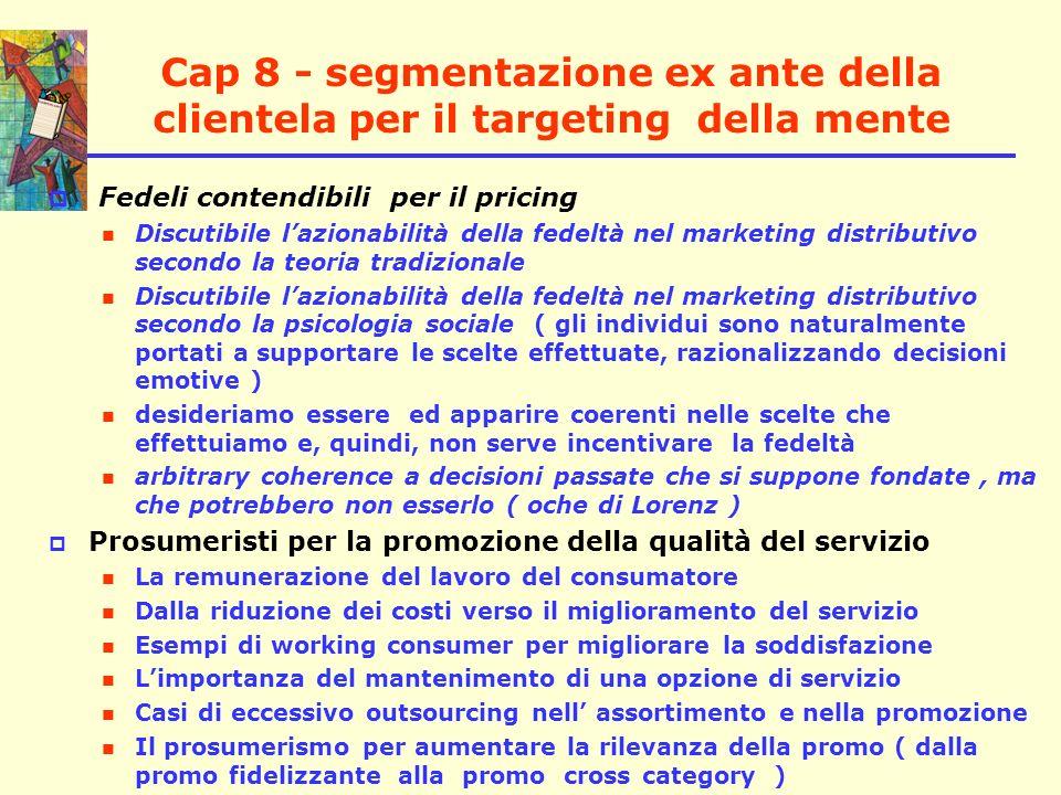 Cap 8 - segmentazione ex ante della clientela per il targeting della mente Fedeli contendibili per il pricing Discutibile lazionabilità della fedeltà