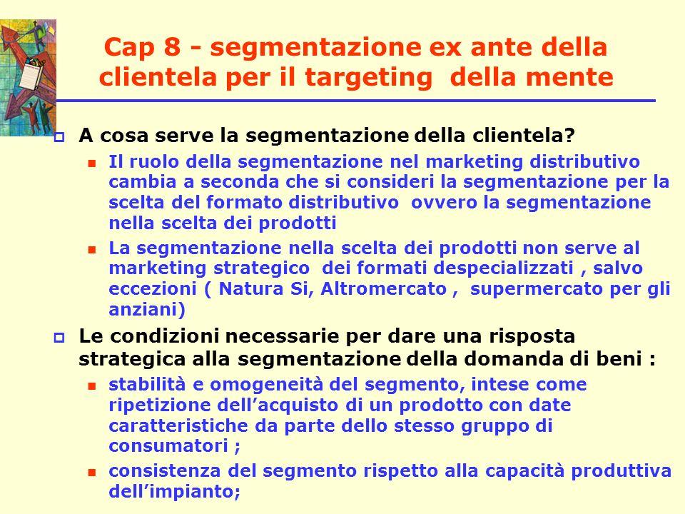 Cap 8 - segmentazione ex ante della clientela per il targeting della mente A cosa serve la segmentazione della clientela? Il ruolo della segmentazione