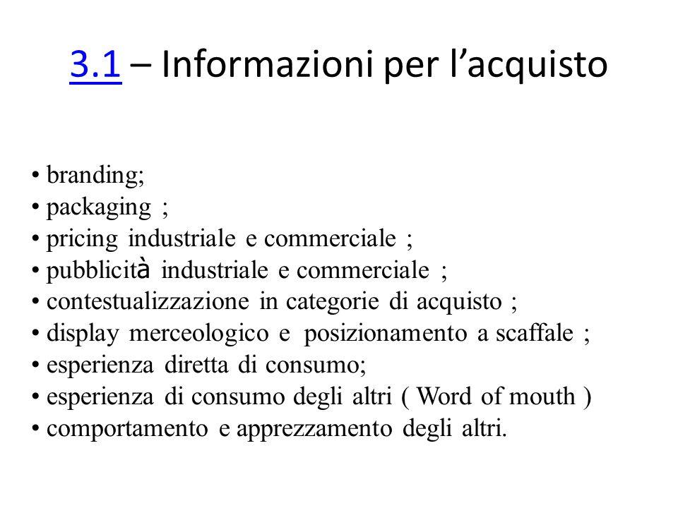 3.13.1 – Informazioni per lacquisto branding; packaging ; pricing industriale e commerciale ; pubblicit à industriale e commerciale ; contestualizzazi