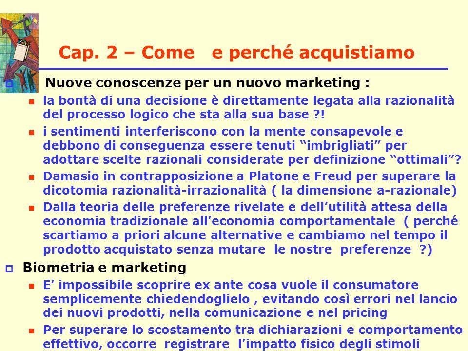 Cap. 2 – Come e perché acquistiamo Nuove conoscenze per un nuovo marketing : la bontà di una decisione è direttamente legata alla razionalità del proc