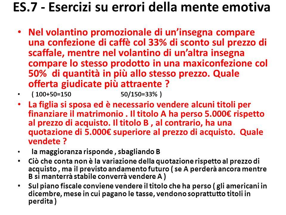 ES.7 - Esercizi su errori della mente emotiva Nel volantino promozionale di uninsegna compare una confezione di caffè col 33% di sconto sul prezzo di