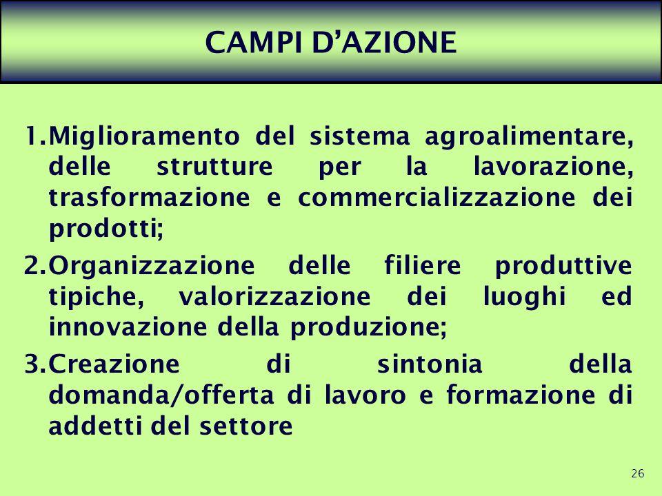 26 CAMPI DAZIONE 1.Miglioramento del sistema agroalimentare, delle strutture per la lavorazione, trasformazione e commercializzazione dei prodotti; 2.