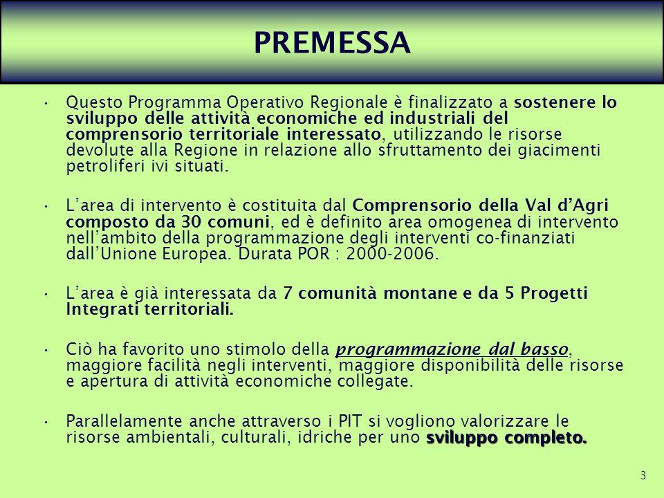3 PREMESSA Questo Programma Operativo Regionale è finalizzato a sostenere lo sviluppo delle attività economiche ed industriali del comprensorio territ