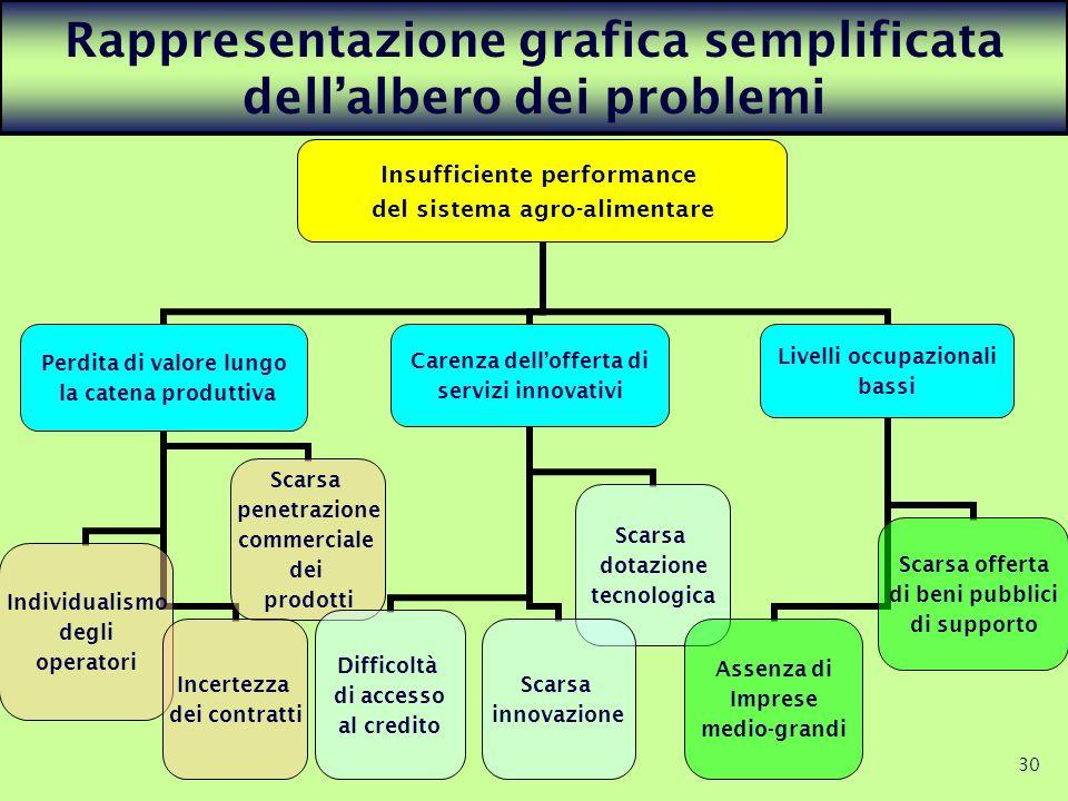 30 Rappresentazione grafica semplificata dellalbero dei problemi Insufficiente performance del sistema agro- alimentare Perdita di valore lungo la cat