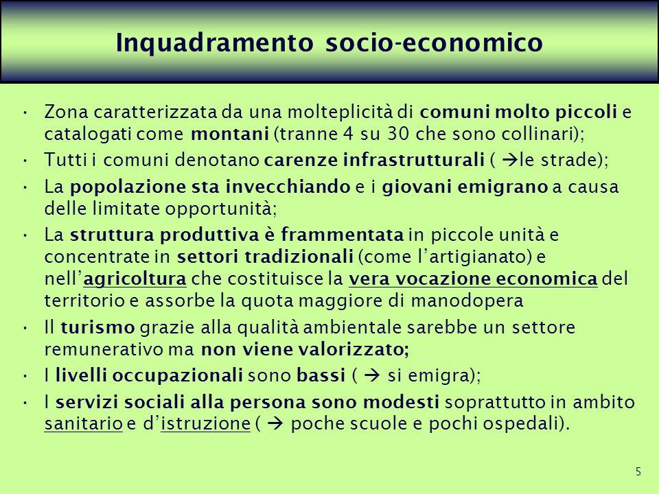 5 Inquadramento socio-economico Zona caratterizzata da una molteplicità di comuni molto piccoli e catalogati come montani (tranne 4 su 30 che sono col