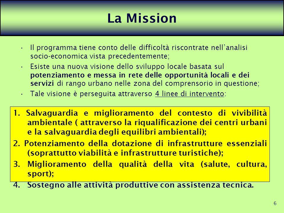 6 La Mission Il programma tiene conto delle difficoltà riscontrate nellanalisi socio-economica vista precedentemente; Esiste una nuova visione dello s