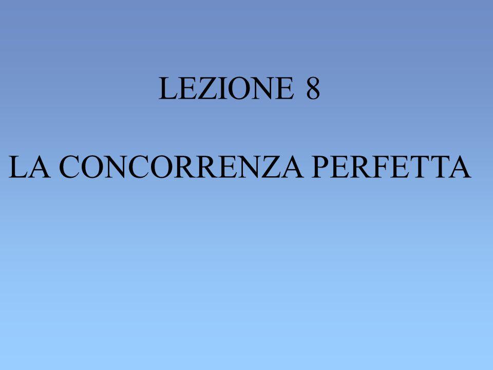 LEZIONE 8 LA CONCORRENZA PERFETTA