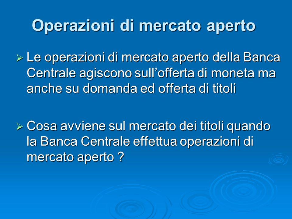 Le operazioni di mercato aperto della Banca Centrale agiscono sullofferta di moneta ma anche su domanda ed offerta di titoli Le operazioni di mercato