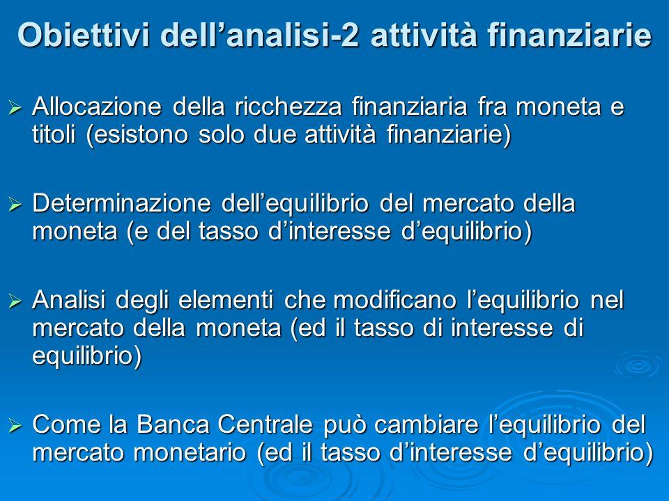 Obiettivi dellanalisi-2 attività finanziarie Obiettivi dellanalisi-2 attività finanziarie Allocazione della ricchezza finanziaria fra moneta e titoli (esistono solo due attività finanziarie) Allocazione della ricchezza finanziaria fra moneta e titoli (esistono solo due attività finanziarie) Determinazione dellequilibrio del mercato della moneta (e del tasso dinteresse dequilibrio) Determinazione dellequilibrio del mercato della moneta (e del tasso dinteresse dequilibrio) Analisi degli elementi che modificano lequilibrio nel mercato della moneta (ed il tasso di interesse di equilibrio) Analisi degli elementi che modificano lequilibrio nel mercato della moneta (ed il tasso di interesse di equilibrio) Come la Banca Centrale può cambiare lequilibrio del mercato monetario (ed il tasso dinteresse dequilibrio) Come la Banca Centrale può cambiare lequilibrio del mercato monetario (ed il tasso dinteresse dequilibrio)