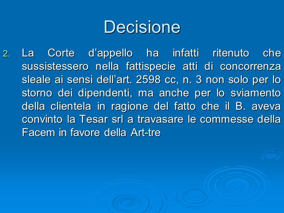 Decisione 2. La Corte dappello ha infatti ritenuto che sussistessero nella fattispecie atti di concorrenza sleale ai sensi dellart. 2598 cc, n. 3 non