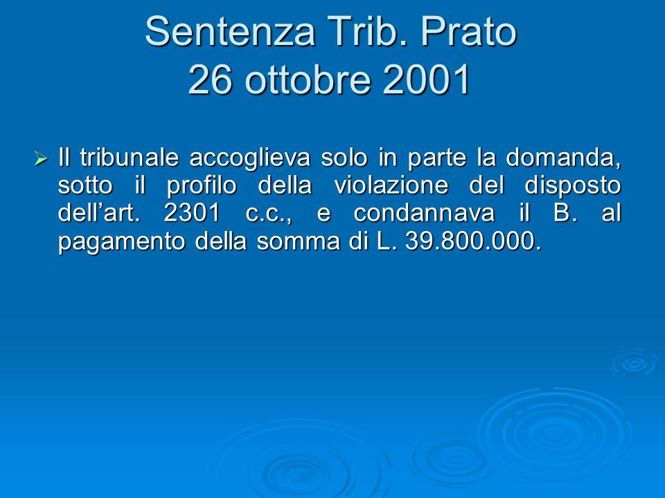 Sentenza Trib. Prato 26 ottobre 2001 Il tribunale accoglieva solo in parte la domanda, sotto il profilo della violazione del disposto dellart. 2301 c.