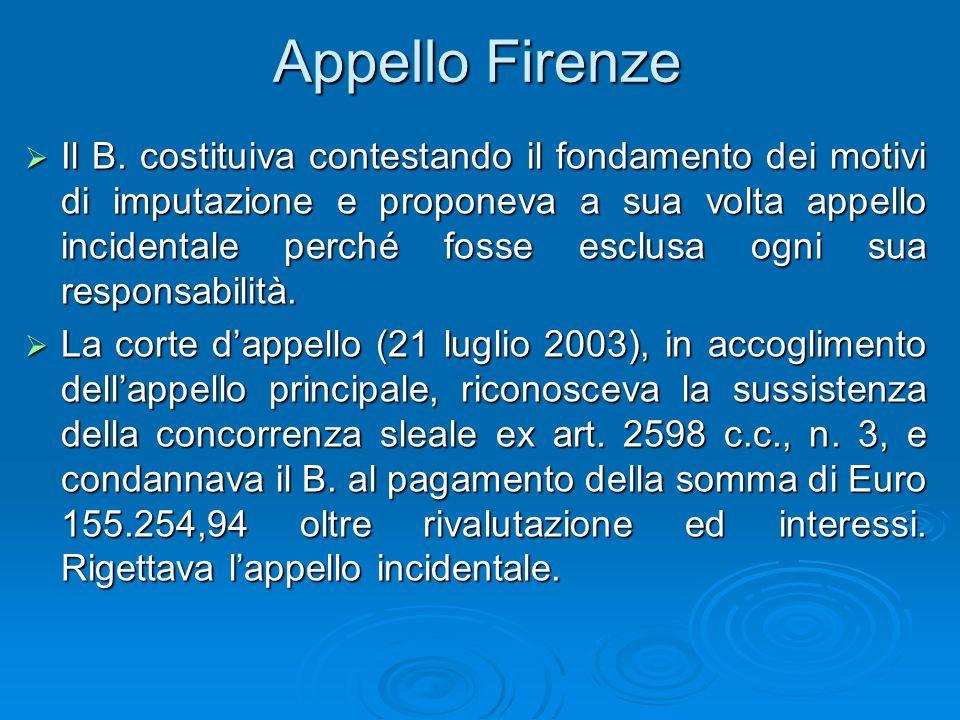 Appello Firenze Il B. costituiva contestando il fondamento dei motivi di imputazione e proponeva a sua volta appello incidentale perché fosse esclusa