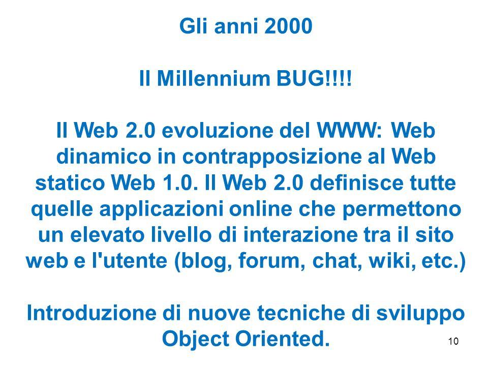 10 Gli anni 2000 Il Millennium BUG!!!! Il Web 2.0 evoluzione del WWW: Web dinamico in contrapposizione al Web statico Web 1.0. Il Web 2.0 definisce tu