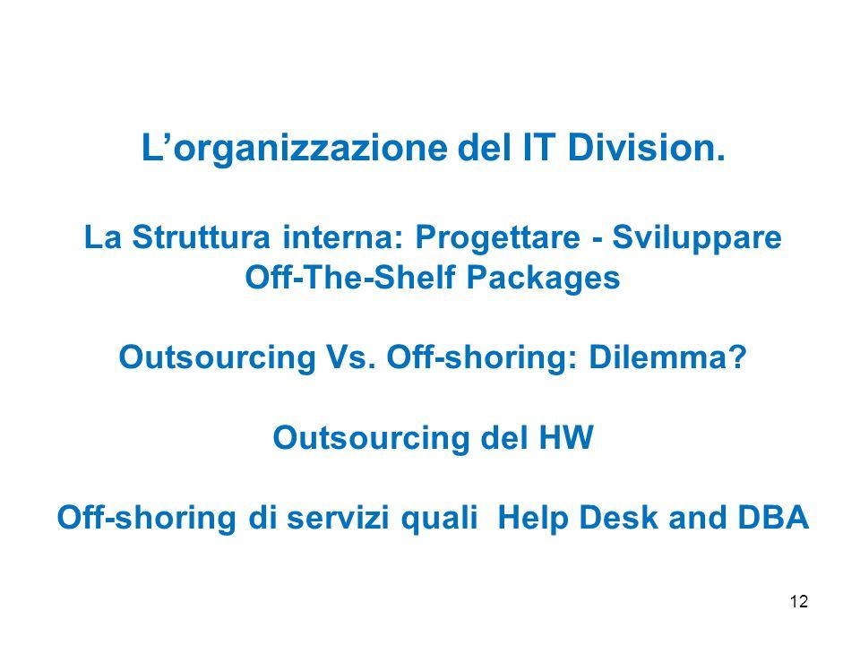 12 Lorganizzazione del IT Division. La Struttura interna: Progettare - Sviluppare Off-The-Shelf Packages Outsourcing Vs. Off-shoring: Dilemma? Outsour