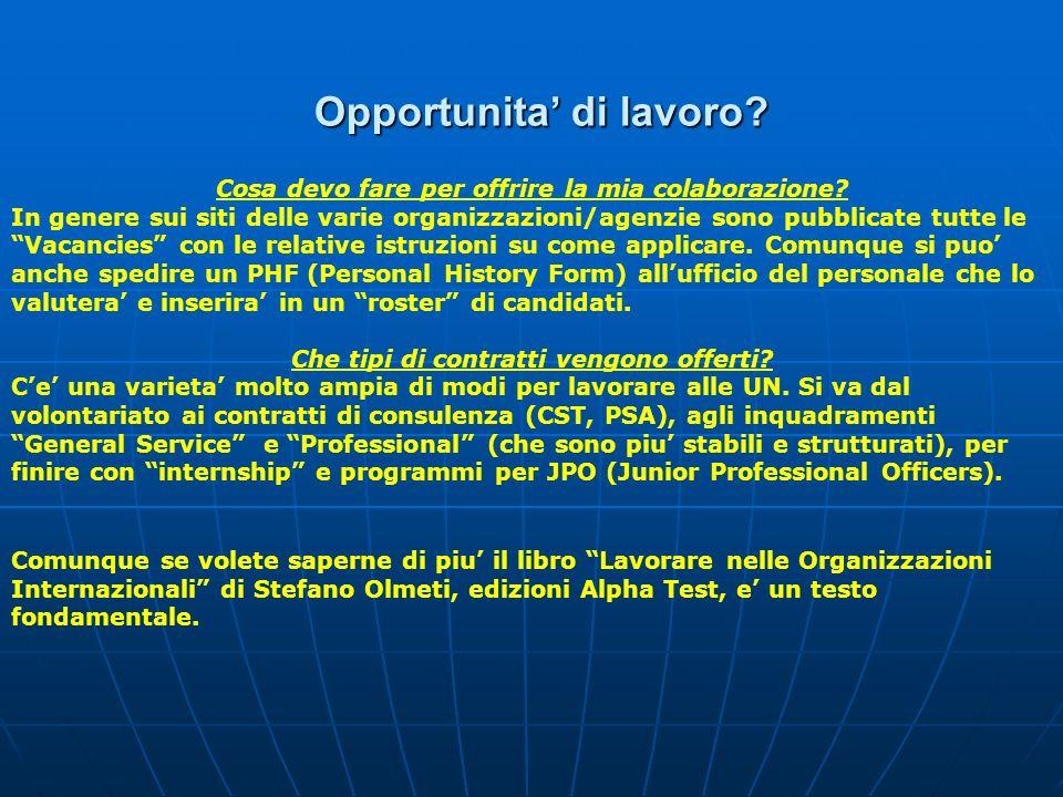 Opportunita di lavoro? Cosa devo fare per offrire la mia colaborazione? In genere sui siti delle varie organizzazioni/agenzie sono pubblicate tutte le