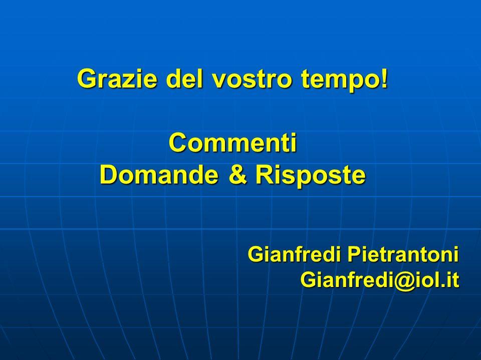 Grazie del vostro tempo! Commenti Domande & Risposte Gianfredi Pietrantoni Gianfredi@iol.it