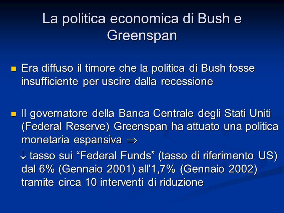 Era diffuso il timore che la politica di Bush fosse insufficiente per uscire dalla recessione Era diffuso il timore che la politica di Bush fosse insu