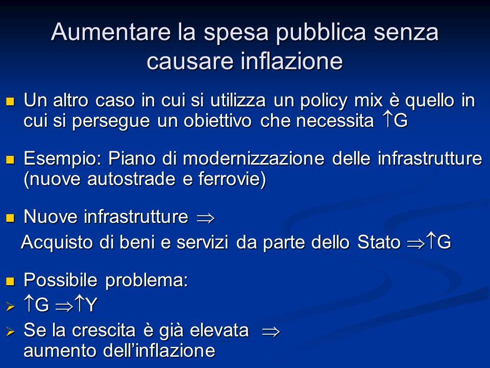 Aumentare la spesa pubblica senza causare inflazione Un altro caso in cui si utilizza un policy mix è quello in cui si persegue un obiettivo che neces