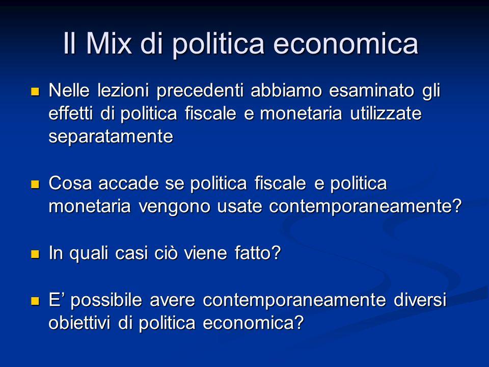 Mix di politica economica: la definizione Mix di politica economica: la definizione Mix di politiche espansive (Bush + Greenspan) Mix di politiche espansive (Bush + Greenspan) Aumentare la spesa pubblica senza causare inflazione (Reagan + Volcker) Aumentare la spesa pubblica senza causare inflazione (Reagan + Volcker) Ridurre il disavanzo senza causare una recessione (Clinton + Greenspan e Unione Europea) Ridurre il disavanzo senza causare una recessione (Clinton + Greenspan e Unione Europea) Il Mix di politica economica