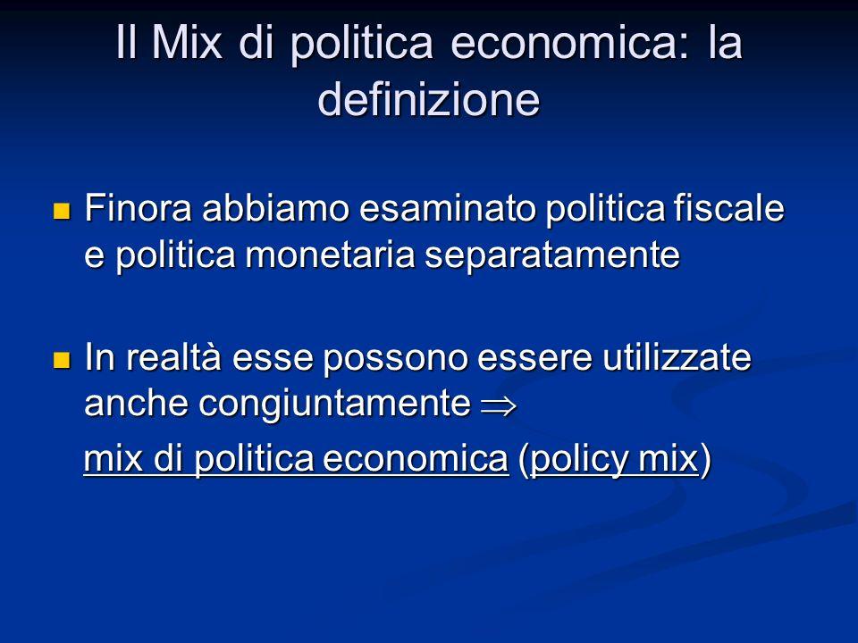 Il Mix di politica economica: la definizione Finora abbiamo esaminato politica fiscale e politica monetaria separatamente Finora abbiamo esaminato pol