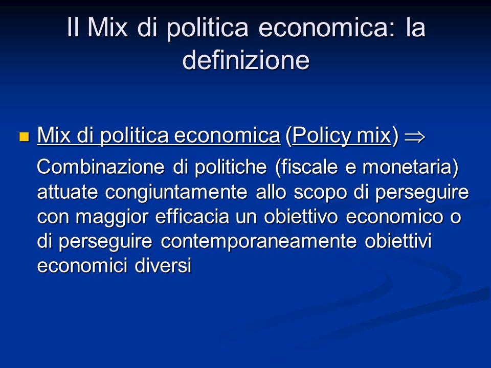 Mix di politica economica (Policy mix) Mix di politica economica (Policy mix) Combinazione di politiche (fiscale e monetaria) attuate congiuntamente a
