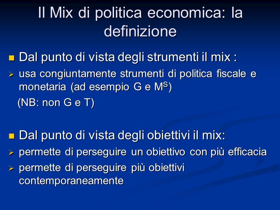 Aumentare la spesa pubblica senza causare inflazione In questo caso abbiamo due obiettivi: In questo caso abbiamo due obiettivi: infrastrutture infrastrutture non Y (per non inflazione) non Y (per non inflazione) Due obiettivi contemporaneamente Due obiettivi contemporaneamente un solo strumento non è sufficiente un solo strumento non è sufficiente mix di politica economica mix di politica economica Esaminiamo il mix attuato Esaminiamo il mix attuato