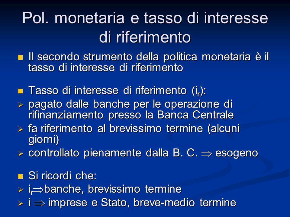 Pol. monetaria e tasso di interesse di riferimento Il secondo strumento della politica monetaria è il tasso di interesse di riferimento Il secondo str