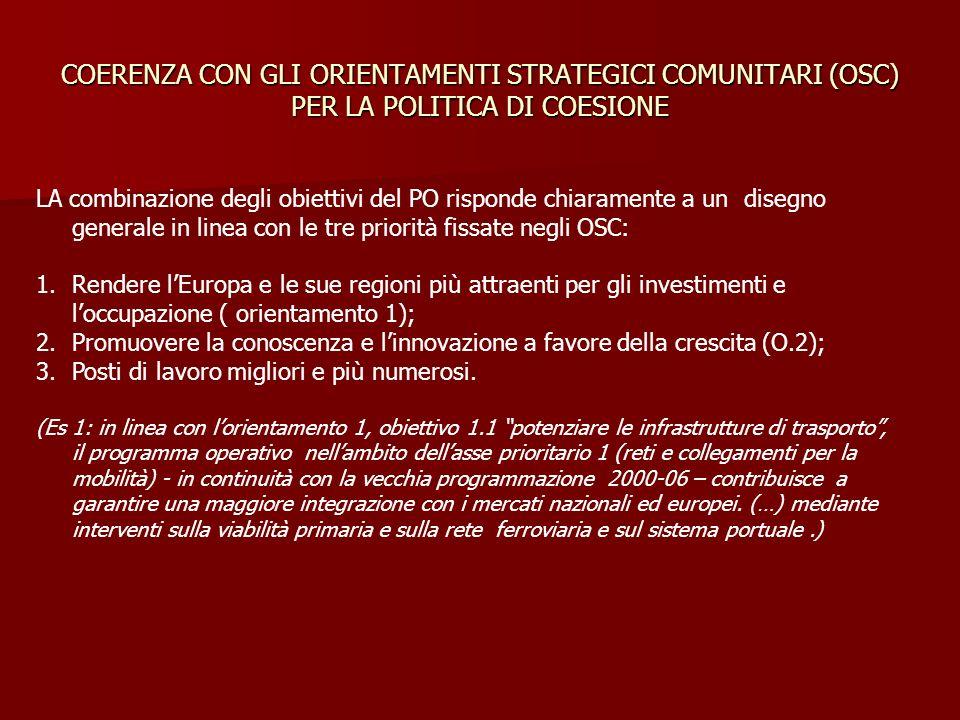 COERENZA CON GLI ORIENTAMENTI STRATEGICI COMUNITARI (OSC) PER LA POLITICA DI COESIONE LA combinazione degli obiettivi del PO risponde chiaramente a un