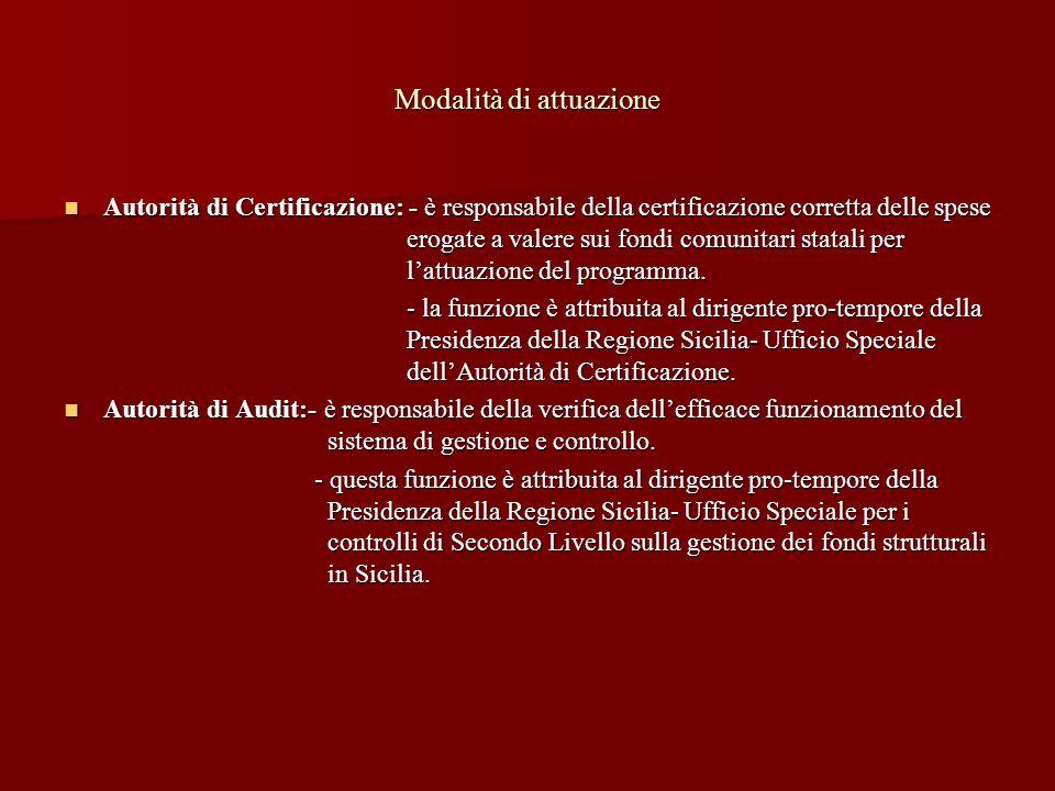 Modalità di attuazione Autorità di Certificazione: - è responsabile della certificazione corretta delle spese erogate a valere sui fondi comunitari st
