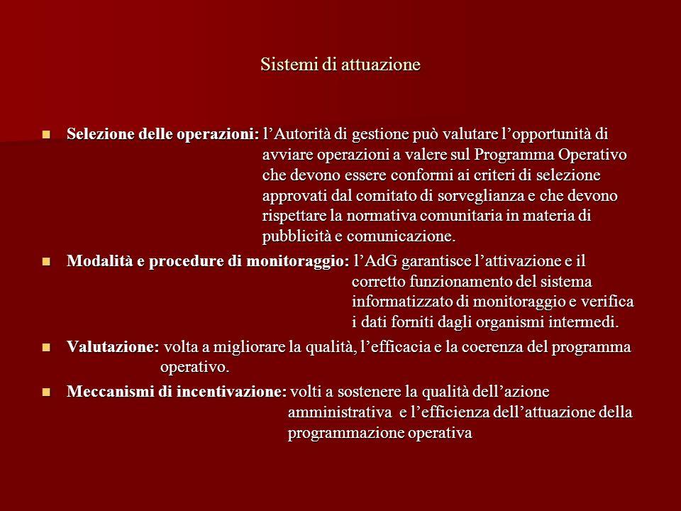 Sistemi di attuazione Selezione delle operazioni: lAutorità di gestione può valutare lopportunità di avviare operazioni a valere sul Programma Operati