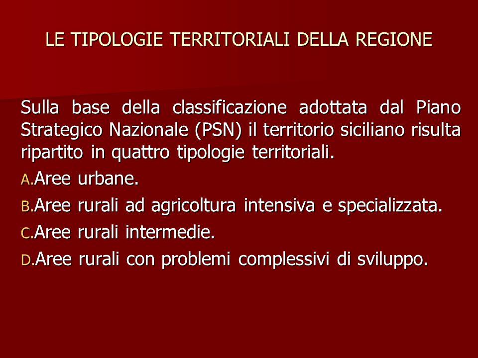 LE TIPOLOGIE TERRITORIALI DELLA REGIONE Sulla base della classificazione adottata dal Piano Strategico Nazionale (PSN) il territorio siciliano risulta