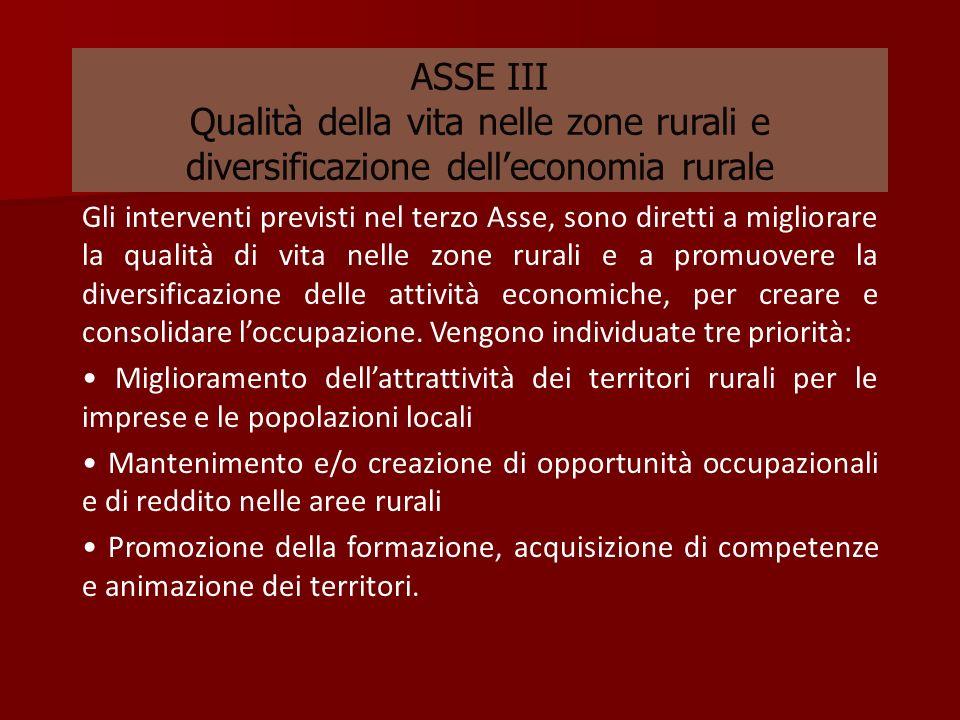 ASSE III Qualità della vita nelle zone rurali e diversificazione delleconomia rurale Gli interventi previsti nel terzo Asse, sono diretti a migliorare