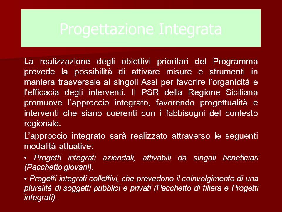 Progettazione Integrata La realizzazione degli obiettivi prioritari del Programma prevede la possibilità di attivare misure e strumenti in maniera tra