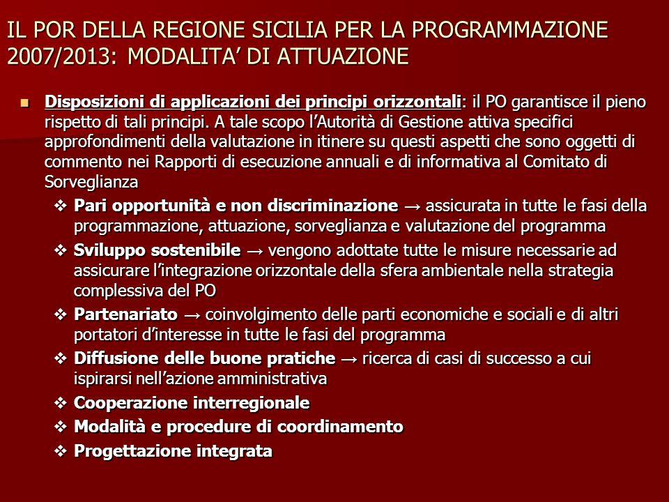 IL POR DELLA REGIONE SICILIA PER LA PROGRAMMAZIONE 2007/2013: MODALITA DI ATTUAZIONE Disposizioni di applicazioni dei principi orizzontali: il PO gara