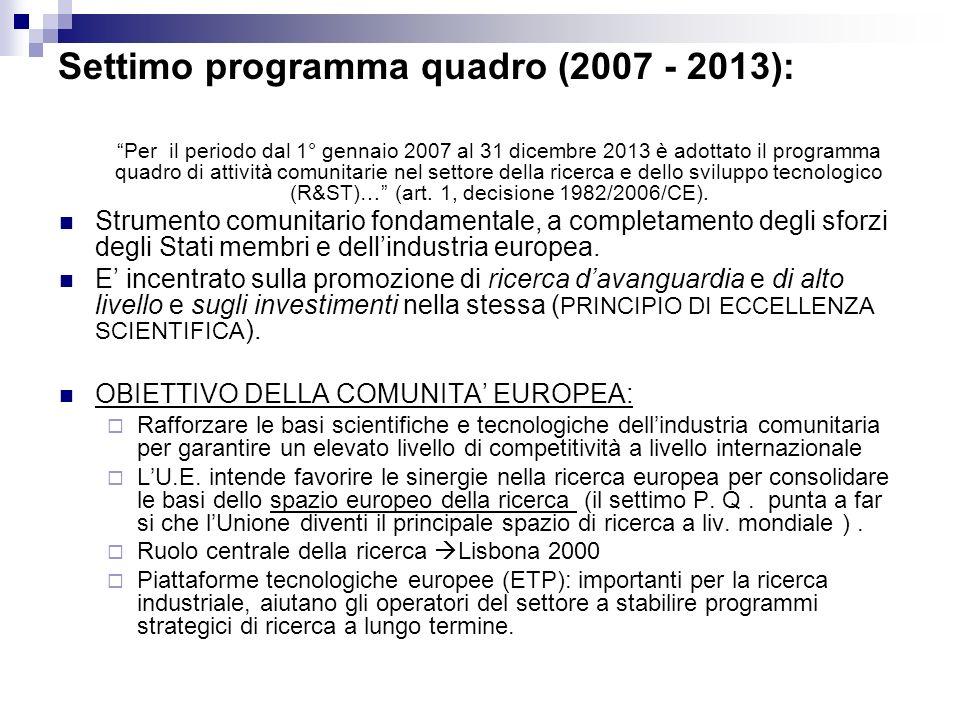 Settimo programma quadro (2007 - 2013): Per il periodo dal 1° gennaio 2007 al 31 dicembre 2013 è adottato il programma quadro di attività comunitarie nel settore della ricerca e dello sviluppo tecnologico (R&ST)… (art.