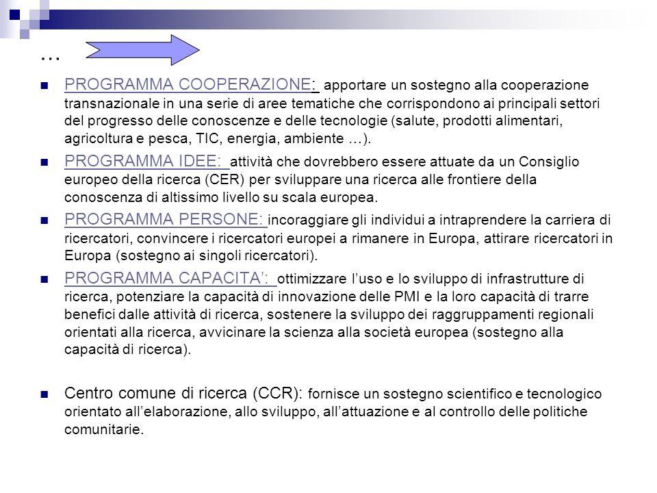 Specificità Settimo programma quadro: Rientrano nel settimo p.