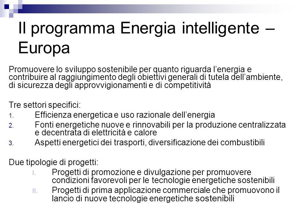 Il programma Energia intelligente – Europa Promuovere lo sviluppo sostenibile per quanto riguarda lenergia e contribuire al raggiungimento degli obiettivi generali di tutela dellambiente, di sicurezza degli approvvigionamenti e di competitività Tre settori specifici: 1.