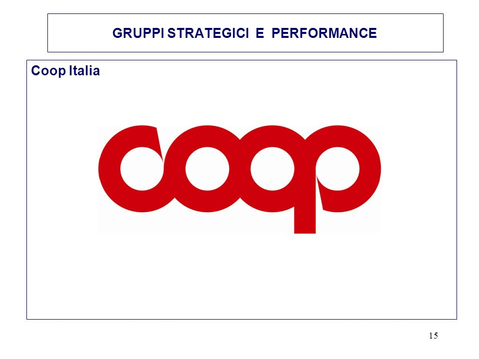 15 GRUPPI STRATEGICI E PERFORMANCE Coop Italia