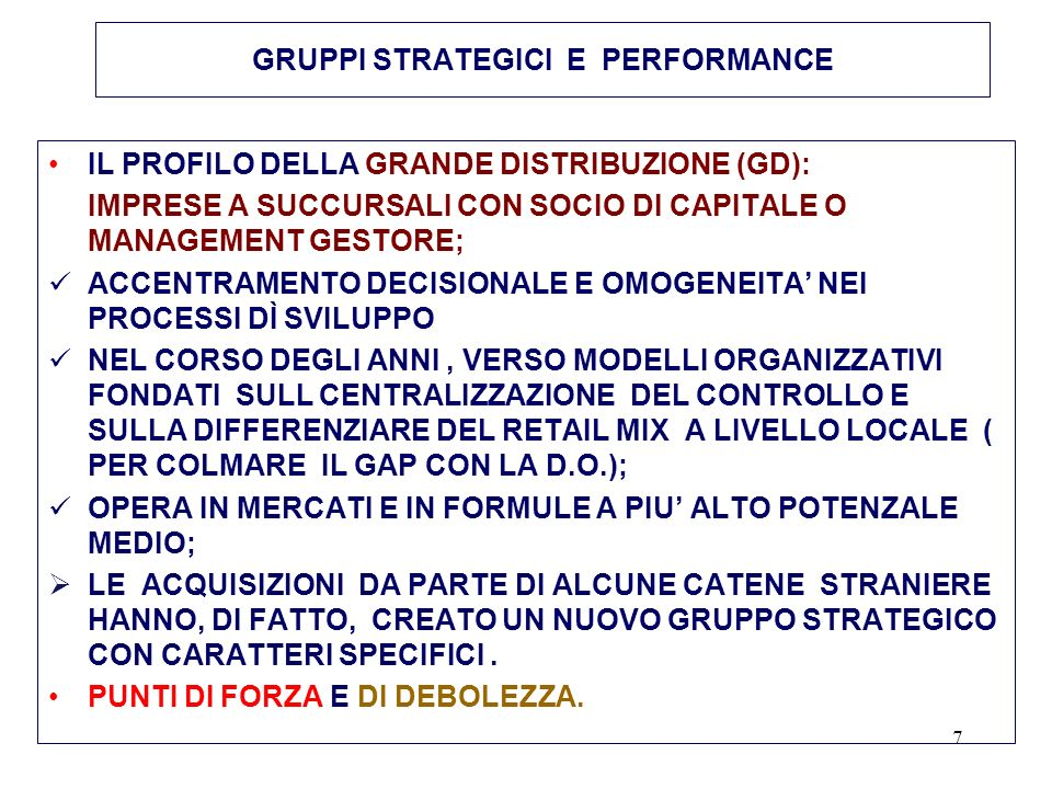8 GRUPPI STRATEGICI E PERFORMANCE IMPRESE A SUCCURSALI
