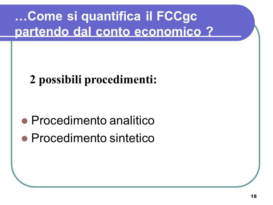 18 …Come si quantifica il FCCgc partendo dal conto economico ? Procedimento analitico Procedimento sintetico 2 possibili procedimenti: