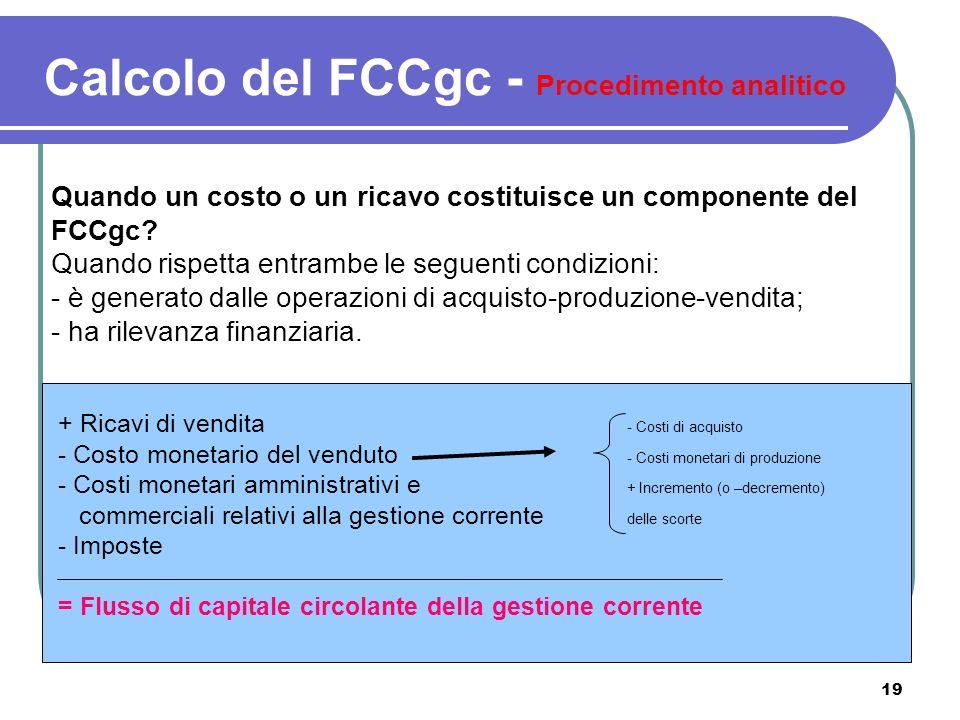 19 Quando un costo o un ricavo costituisce un componente del FCCgc? Quando rispetta entrambe le seguenti condizioni: - è generato dalle operazioni di