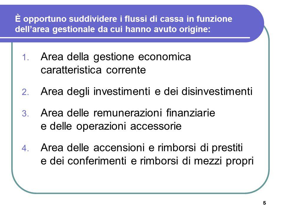 5 È opportuno suddividere i flussi di cassa in funzione dellarea gestionale da cui hanno avuto origine: 1. Area della gestione economica caratteristic